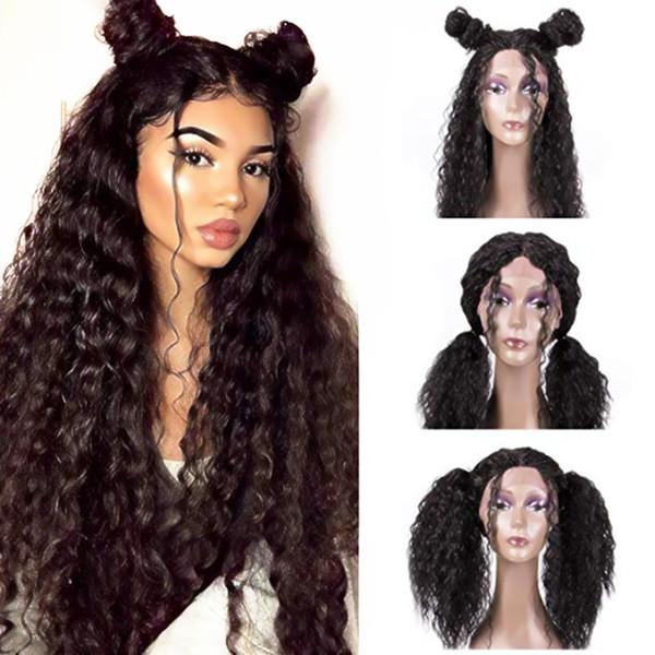 Ücretsiz Kargo Siyah Kadınlar için Sentetik Dantel Ön Peruk Uzun Gevşek Kıvırcık Siyah # 1B Saç 24 Inç Doğal Görünümlü Isıya Dayanıklı Fiber peruk