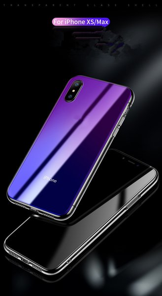Suitable for iphone xr apple mobile phone case Japan and Korea new plating tpu transparent gradient glass cover wholesale