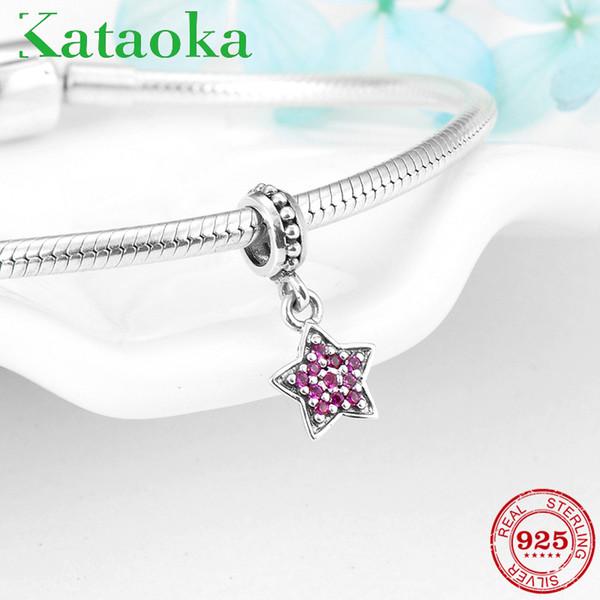 Moda in argento sterling 925 Charms a forma di stella a cinque punte CZ rosa Pendenti Misura originale Pandora Charm Bracelet Creazione di gioielli