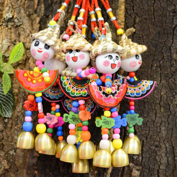 best selling Handicraft Folk -custom Straw Hat Chime Doll Hanging Pendant For Home Decoration Christmas Gift 12 Inch