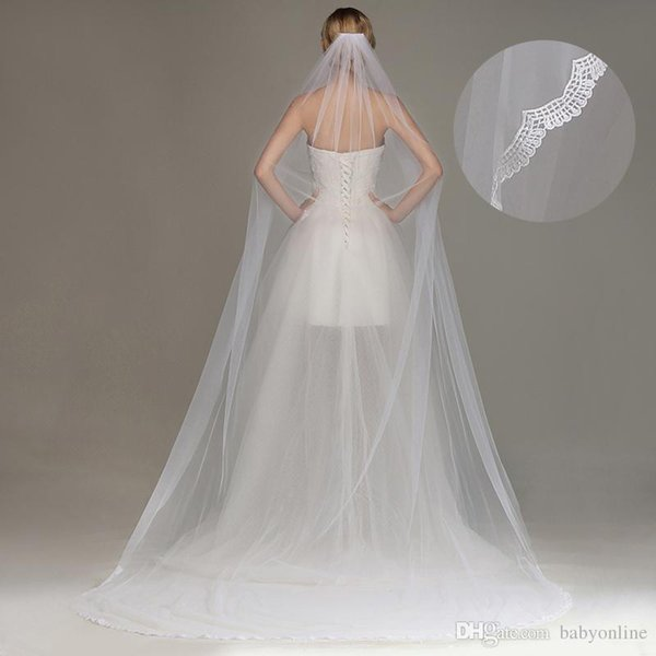 New Fashion Simple Cheap One Layer 3 Merters Soft Tulle 2019 Wedding Veils With Comb Long Princess Bridal Veils Bridal Accessories CPA1442