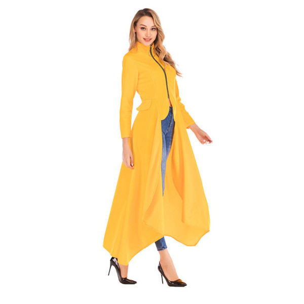 Mode Unregelmäßigkeiten Stehkragen Trenchcoats Frühling Reißverschluss Langarm Designer Mäntel Neue Casual Women Clothing