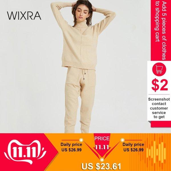 Wixra femmes Costumes pull et ensembles à manches longues à col roulé en tricot Pulls + longues poches Pantalons 2PCS Ensembles Costume d'hiver V191109