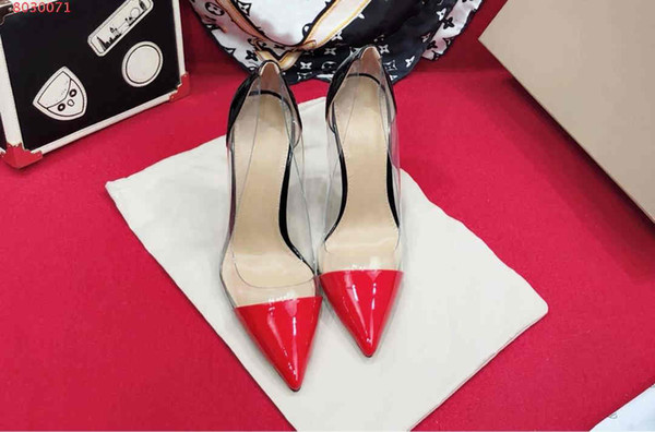 Summer new style girl high heels with rubber transparent sexy crystal sandals High heel with sharp tip