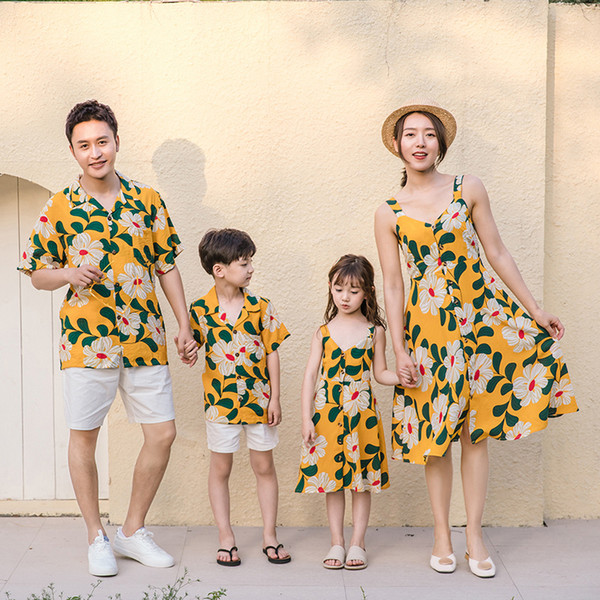 Mother and Daughter Evening Dresses Family Matching T-shirts Mommy and Me Plus Size Flower Yellow Wedding Dress Dad Son Sets