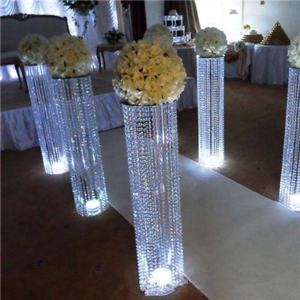 Sparkly Flower Vase Crystal Beaded Floor Pillars Tall Chandelier Centerpiece Luxury Flower stand Wedding Event Decoration