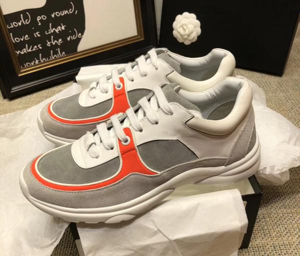 Adı Marka Kadın Erkek Rahat Ayakkabılar Tasarımcı Low Cut Süet Deri Eğitmen Yürüyüş Koşu Ayakkabı Sneaker Satışa