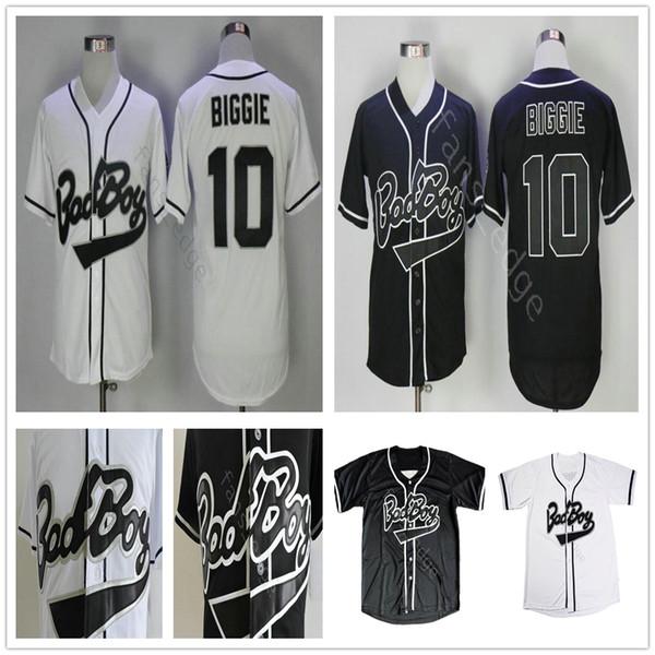 B.I.G. Biggie Smalls Jersey The Notorious Movie Bad Boy #10 Biggie Black White Stitched Baseball Film Buttons Jerseys Shirts Size S-XXXL