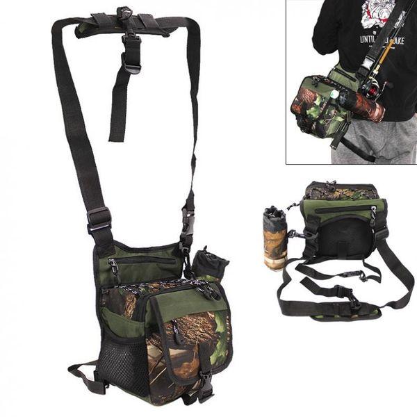 Multifunctional Camouflage Fishing Bag Messenger Waist Bag Waterproof Fishing Rod Lure Reel Line Tackle Storage Bags #815578