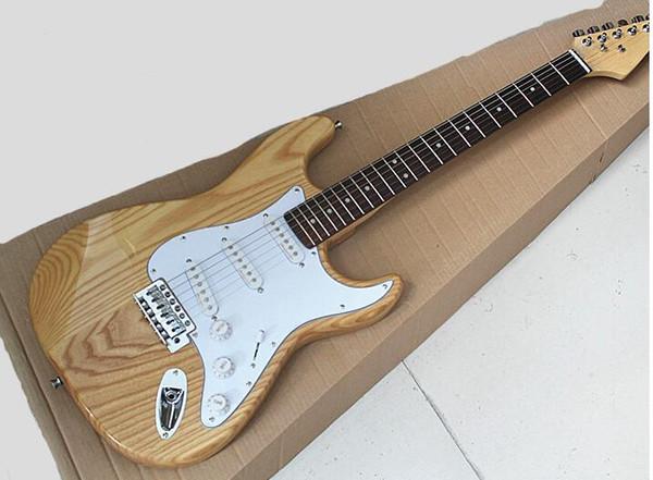 2019 Yeni Doğal Ahşap Renk Elektro Gitar ASH Gövde, Beyaz Pickguard, Gülağacı Klavye, özelleştirilmiş hizmetler sunan
