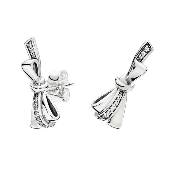 2019 Authentic 925 Silver Gorgeous Bows Earrings For Pandora Cz