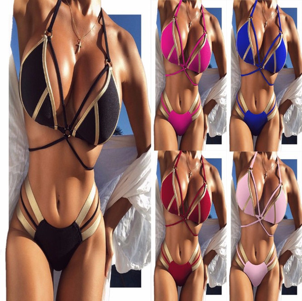 new style beautiful lovely hot stamping blingbling Sex Three-point Strappy Bikini Women's Swimwear No steel bracket with breast pad