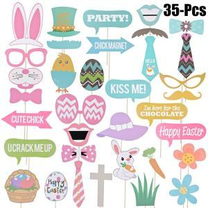 35pcs/lot Easter Photo Props Egg Rabbit Basket Photographing Dress-up Acessories DIY Party Decor Wedding Birthday Fun Supply FFA1524