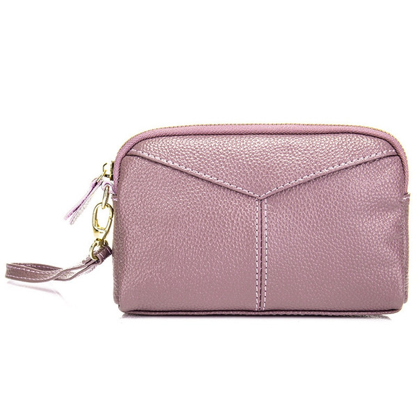 Simple Fashion Women Clutch Bags Cowhide Hand Bag for Girls Lady Designer Mobile Phone Pouch Change Purse Bolsa Feminina #675282