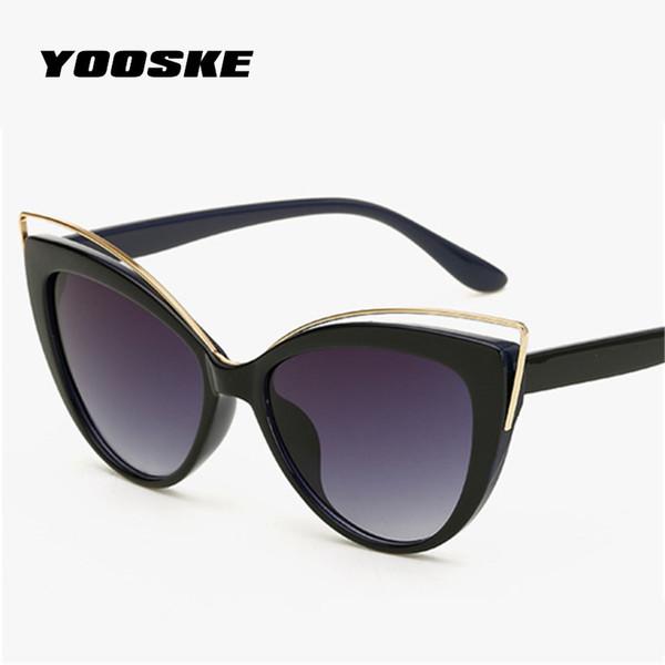 YOOSKE Katie Holmes Elegant Curve Design Sunglasses for Women Luxury Cat ear Eyeglasses UV400 Shades Eyeglass Cat Eyes Glasses