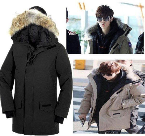 18 Canada Keep Warm Thickening Cold Long Self-cultivation Man Goose Down bomber jacket men mens winter Jackets Loose Coat Overcoat monclair