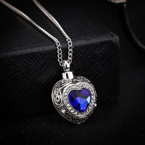 Più nuovo argento cremazione urna cuore blu ciondolo cenere titolare mini ricordo collana lunga memorial bel regalo