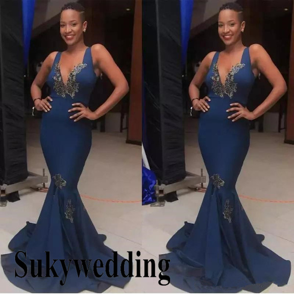 New Sexy Mermaid Africa Evening Dresses Deep V Neck Sleeveless Pageant Gowns Appliques Lace Celebrity Prom Dresses Long Formal Party Wear