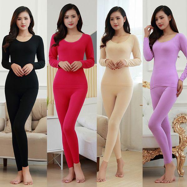 1 set women thermal underwear winter long johns long sleeve female thermal clothing cotton shirt 6 colors thumbnail