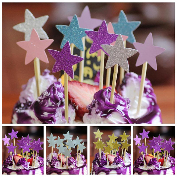 2019 Vent Party Decorating Supplies Five Star Cupcake Cake Topper Diy Wedding Cake Stick Picks Dessert Cream Decorating Tools Kids Birt From