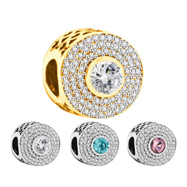 4 Color Round Rhinestone Alloy Charm For Pandora Bracelet Snake Chain Or Necklace Fashion Jewelry Loose Bead