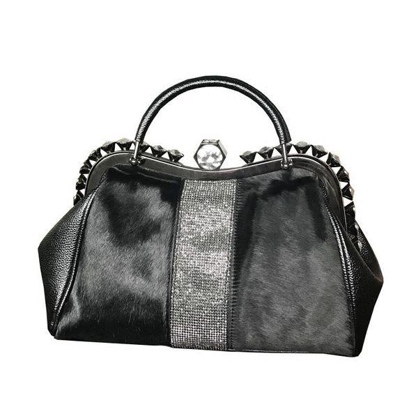 Horse Hair Woman New Bag Korean Shoulder Handbag Vintage Messenger Bags Rhinstone Fur Tote Winter Warm Diamond Crystal Wristlets