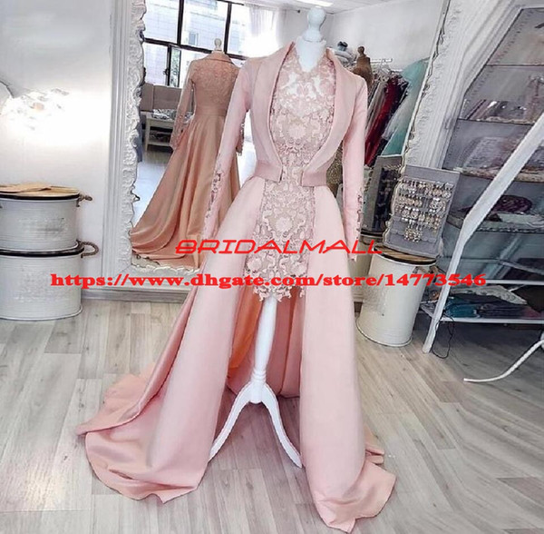 2019 Pink Hi Lo Lace African Evening Dresses With Long Sleeve Satin Coat 2 Pieces Formal Party Gowns vestido de fiesta Long Prom Dress