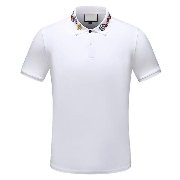 2019 İtalya Tasarımcı Polo Gömlek Erkekler rahat polo t gömlek yılan arı çiçek nakış şerit polos moda klasik Lüks polo gömlekler