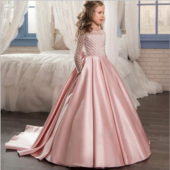 1 stücke Mädchen Bodenlangen Hochzeitskleid Kinder Mädchen brustbinder langarm Großen bowknot Hinter Prinzessin Abendkleid Partykleider