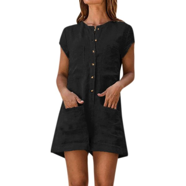 Women V-neck Solid Color Romper Short Sleeve Casual With Pocket Button Linen Jumpsuits Summer One Piece Loose Romper For Ladies