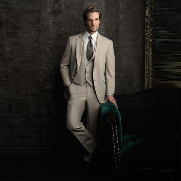 Custom Beige Men Suits Wedding Groom Wear Tuxedos 3 Pieces (Jacket+Pants+Vest) Bridegroom Groomsman Suits Best Man Blazer