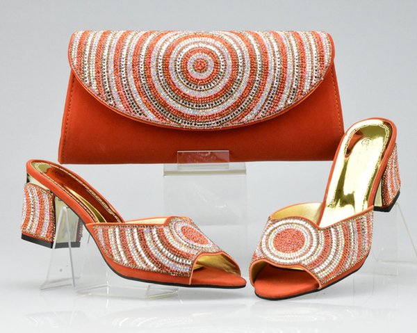 2019 brand fashion designer luxury handbags purses African Heeled shoes bag set for women Wedding Schoen en Tas Set Hoge Hakken Open Teen