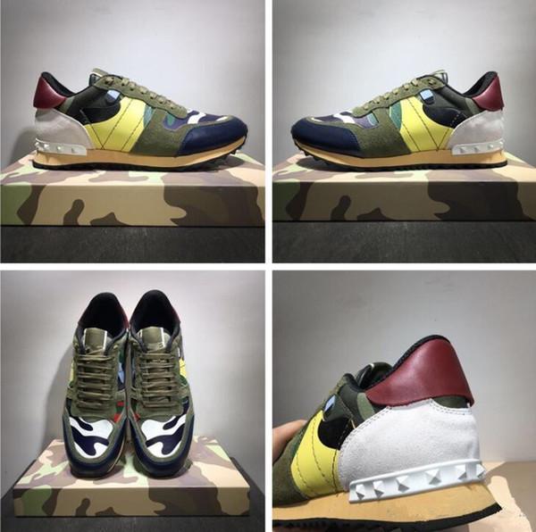 Neue Schuhe [Originalverpackung] Fashion Stud Camouflage Sneakers Schuhe Schuhe Männer, Frauen Wohnungen Luxus Designer Rockrunner Trainer Freizeitschuhe
