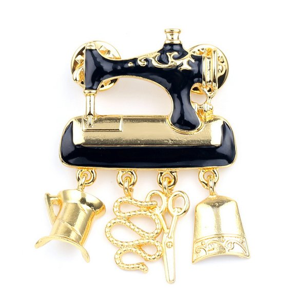 New Arrival Creative Sewing Machine Brooch Long Tassel Brooch Suit Lapel Pin for Gift Party High Quality with Epacket Shipping