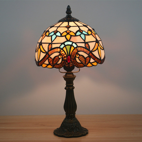 8 Inch Small Baroque Desk Lamp European Bedside Table Lamp Stained Glass Table Light Decorative Home Decor Vintage Dimming Light Fixtures