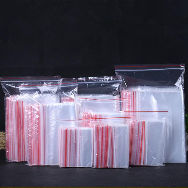 100 pcs Plástico Transparente Auto Sealing Bags Pequenas Ziplock Bolsas 4 * 6/5 * 7/6 * 8/8 * 12/9 * 13 cm Saco Reclosable Fechado para Embalagem de Jóias