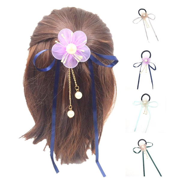 2018 Women Rubber Bands Tiara Five Petals Streamers Hair Band Rope Scrunchie Ponytail Holder Gum for Hair Accessories Elastic