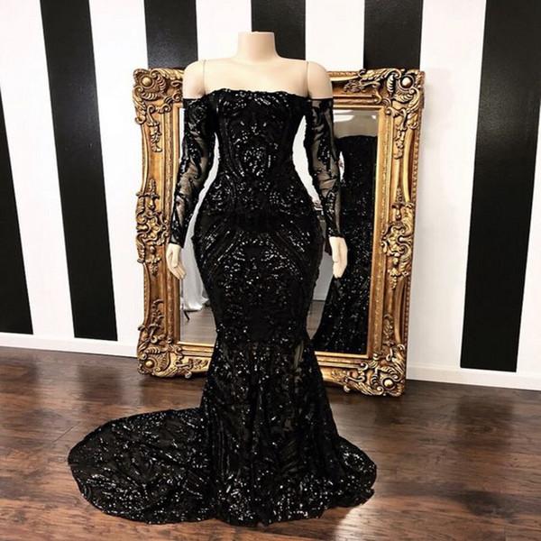 Nero Off The Shoulder Mermaid Prom Party Dresses 2019 New Long Sleeve Sweep Strain Paillettes abiti da sera formale