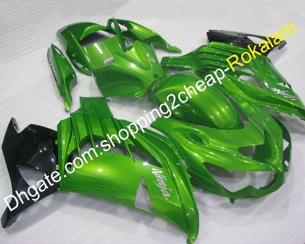 Para Kawasaki ZX-14R 2012 2013 2014 2015 ZX14R ZX 14R ZZ-R1400 12 13 14 15 Kit de carenado verde negro (moldeo por inyección)