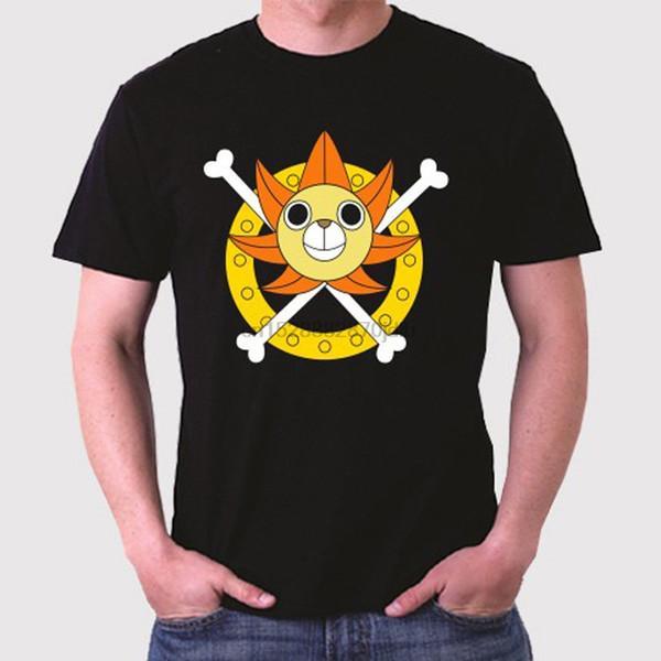 Нового One Piece Logo Thousand Sunny Go Men Black T-Shirt Размер Cartoon тенниска мужчины Унисекс новый способ тенниска Бесплатная доставка