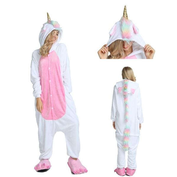 2019 New Winter Adults Animal Kigurumi Pajamas Cartoon Sleepwear Women Pajamas Unicorn Stitch Unicornio Warm Sleepwear
