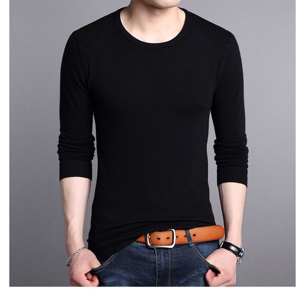 HEFLASHOR Men Sweater Autumn Winter Solid Jumper Knitted Pullover Casual O-neck Sweaters Long Sleeve Slim Fit Knittwear Clothing