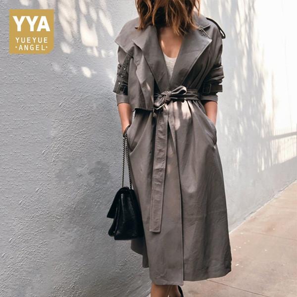 2019 New Luxury Top-Qualität Schaffell Long Jacken Womens Fashion Schärpen Echtes Leder Mäntel Casual Trench Windbreaker