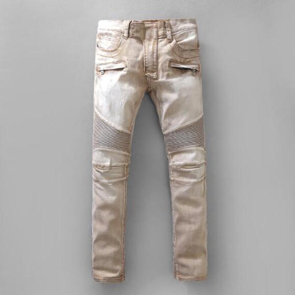 En Kaliteli Biker Jeans Erkek Skinny İnce Streç Denim pantolon Yeni Varış Hip-Hop Sokak Yırtık Kot