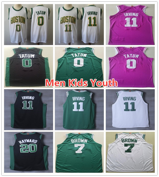 sports shoes 0f579 9d1e0 2018 Men Youth Kids 11 Kyrie Irving Jerseys Shirts New City Edition White  Gold Black Green 0 Jayson Tatum 7 Jaylen Brown Jersey Stitched From ...