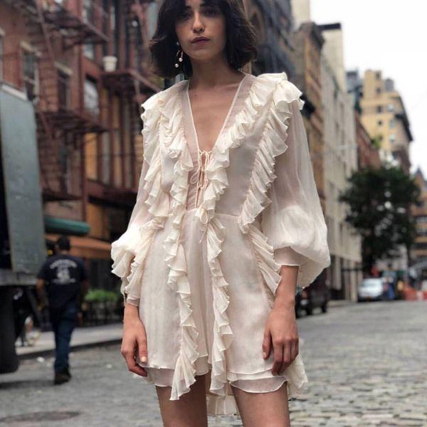 Alta qualità 2019 primavera abito donna manica lunga arruffato stile maglia abiti albicocca sexy scollo av Vocatioan e vestito da festa