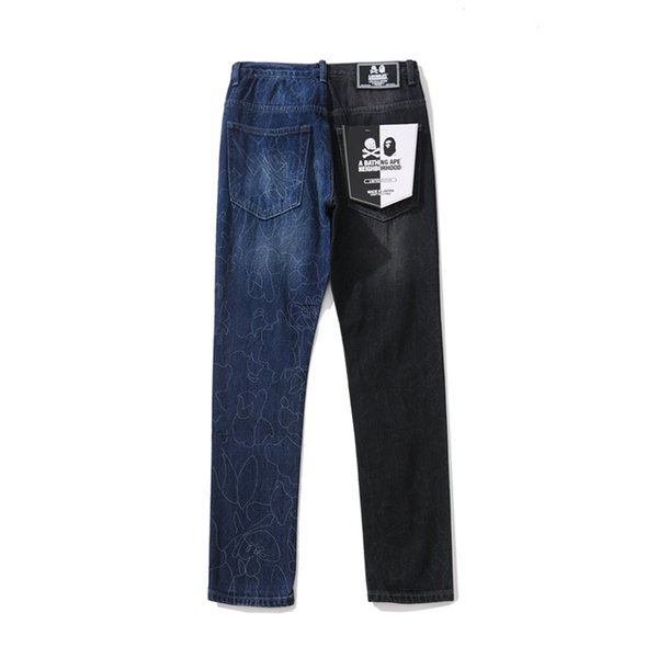 New Men's Color Matching Wash Hip Hop Jeans High Street Lover Black Blue Wash Old Slim Slim Fit Jeans