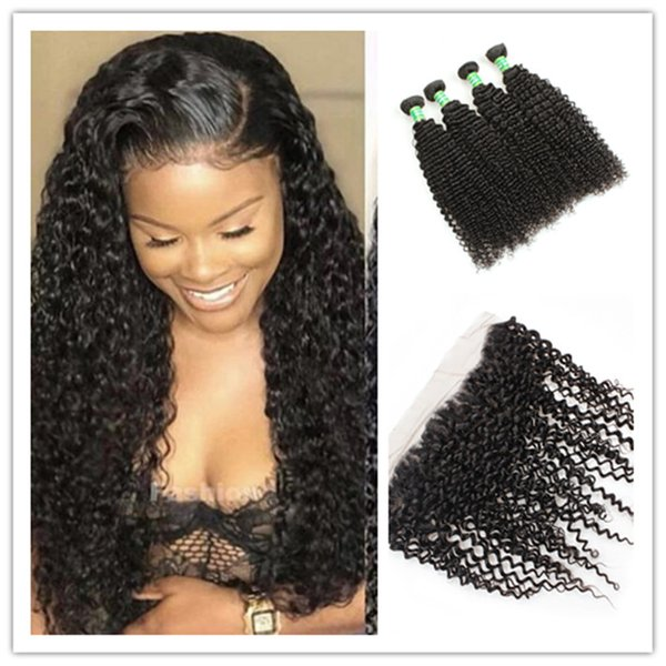 9A Brazilian Body Wave Loose Wave Curly Deep Wave Virgin Hair Weaves 3 Bundles With 13X4 Ear To Ear Lace Frontal Closure J95