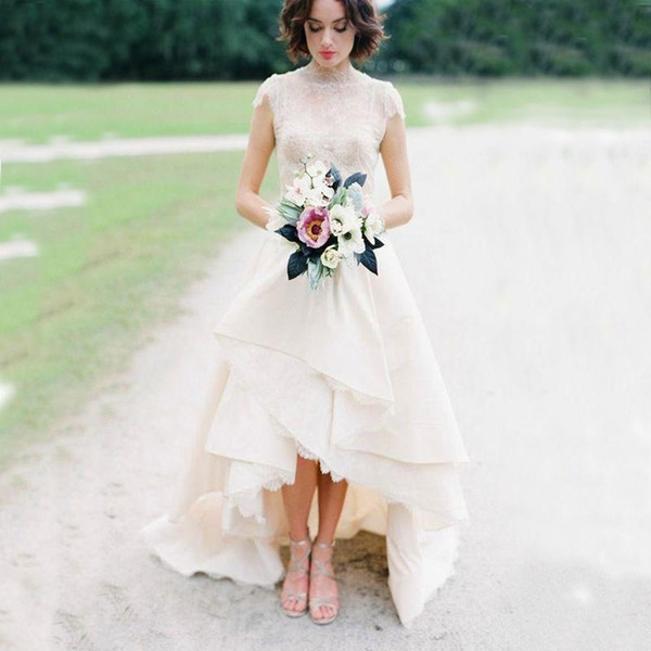 High Low Hem Lace Wedding Dresses Top Lace High Neck Cap Sleeves Satin Tiers Sweep Train Bridal Wedding Gown Garden Country Style 2017