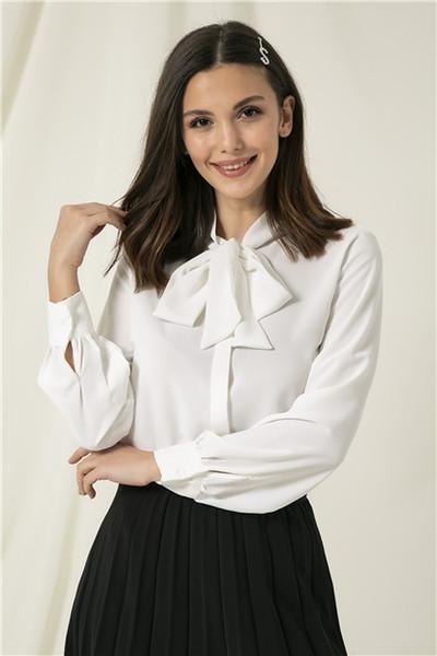 gemglobal / Mulheres Collared Ecru Shirt White